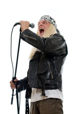 karaoke singer: Rock star singer on a white background