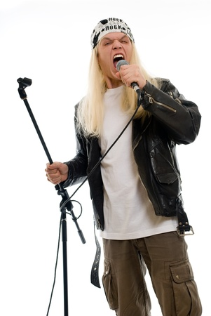 Rock star singer on a white background photo