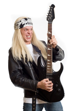 bands: Rock star guitarist on a white background Stock Photo