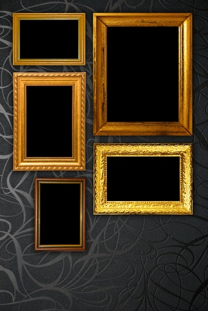 Gold frame on black vintage wallpaper background Stock Photo - 11558557