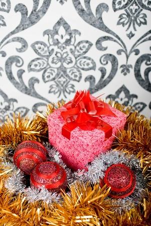 Christmas gift box with christmas balls. Small depth of field photo