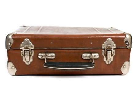 antique suitcase: Old suitcase isolated on a white background Stock Photo