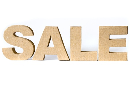 Cardboard font. SALE on white background. photo