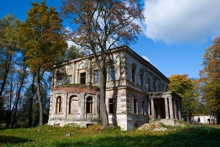 abandoned house: Abandoned damaged old house Stock Photo