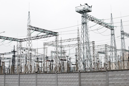 electric station: Power plant - transformation station. Multitude of cables and wires.