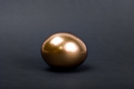 Golden egg. A symbol of making money and successful investment on black background photo