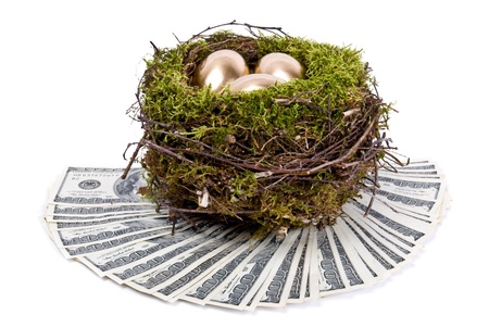 Three golden eggs in the nest. A symbol of making money and successful investment on white background photo