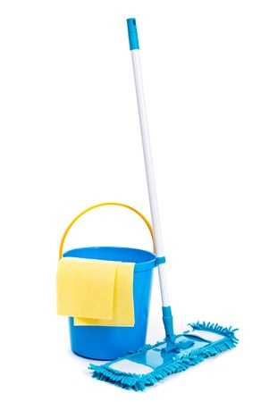 housecleaning: Mop and bucket. Isolated on white background  Stock Photo