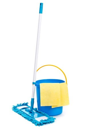 Mop and bucket. Isolated on white background photo