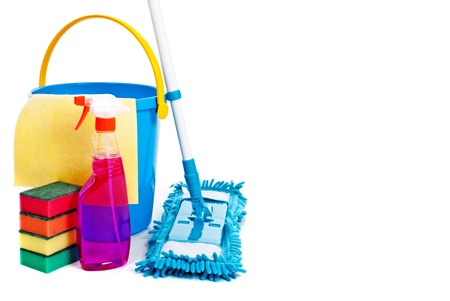 housecleaning: Mop and bucket. Isolated on white background