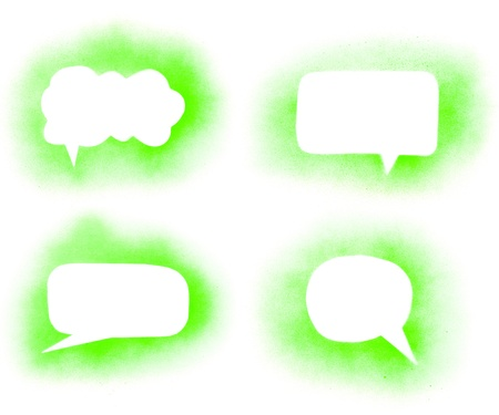 Graffiti green paint speech bubbles set photo