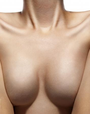 senos desnudos: Mama Sexy hermosa mujer desnuda sobre fondo blanco Foto de archivo