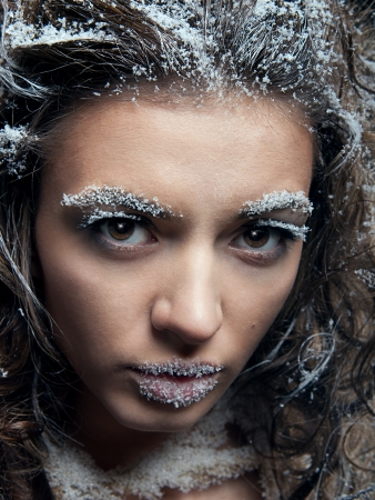 Portrait of young woman with snow make-up. Christmas snow queen Stock Photo - 16301762
