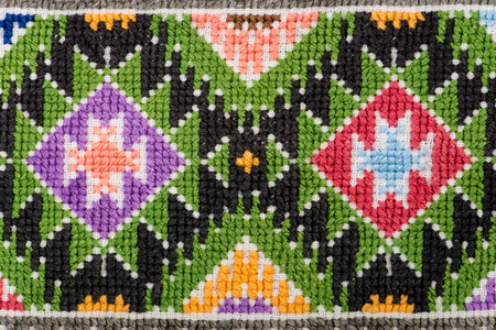 Close-up of embroidered handmade design with geometric and flower-like decorative shapes.