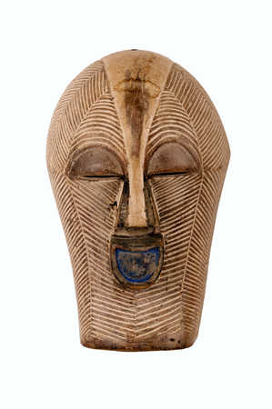 Songye Kifwebe female mask from CongoAfrica, carved in wood with pigmentkaolin patina; small splits, scrapes and cracks attest to its ageuse. Stock fotó