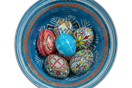 Set of Easter eggs painted in traditional Eastern European style with a floralgeometric design.