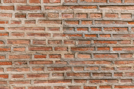 Old red brick wall background texture with high resolution details. Stock Photo