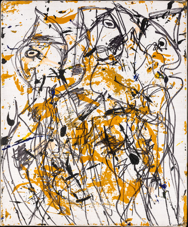 Abstract drawing or painting with strong lines and curves.