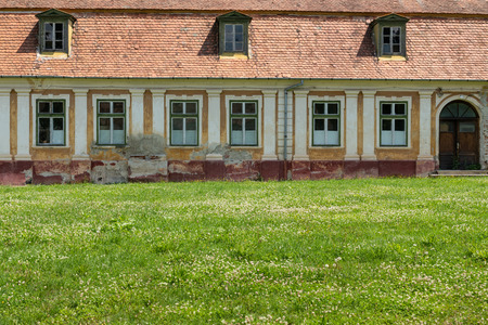 Detail from outdoor garden of the old Palace Brukenthal Avrig in Romania.
