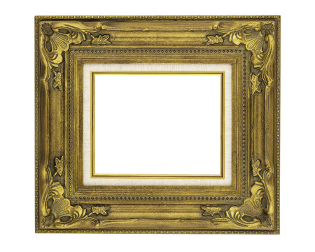 Ornate gold picture frame isolated on white with clipping path at ALL sizes. Imagens