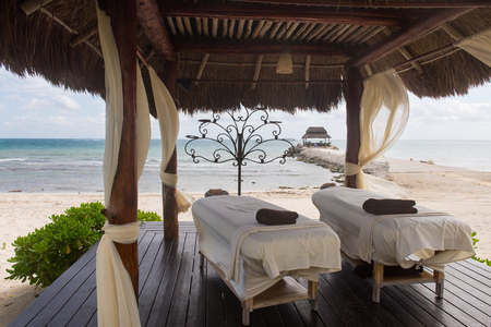 Massage booth luxury place resort and spa for vacations. Archivio Fotografico