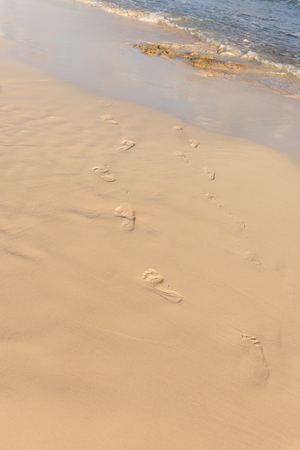 Human footsteps in the sand leading into and covered by the sea or ocean.