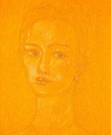 Pencil sketch on orange colored paper of a young woman's portrait.