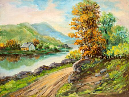 Impressionist style landscape oil painting depicting a rural scene.