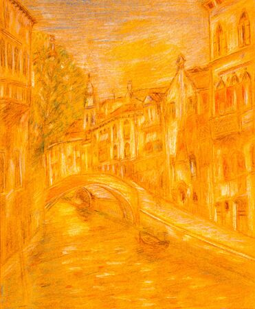 Pencil sketch of Venice city scene on orange colored paper.
