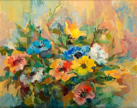 Impressionist style oil painting of flower bouquet.