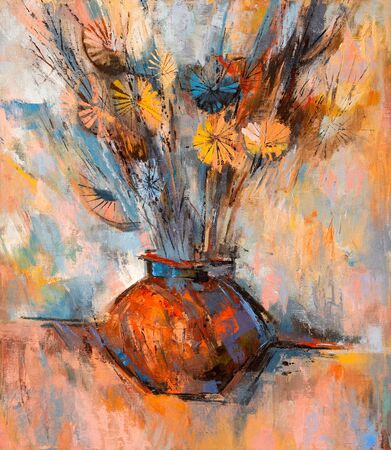 Stylized modern oil painting of flowers in vase.
