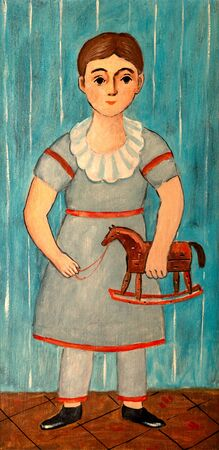 Naive of folk art vintage painting of girl with rocking toy horse.