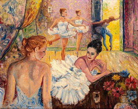 Oil painting of young ballerinas dressed in tutu skirts in their studio.