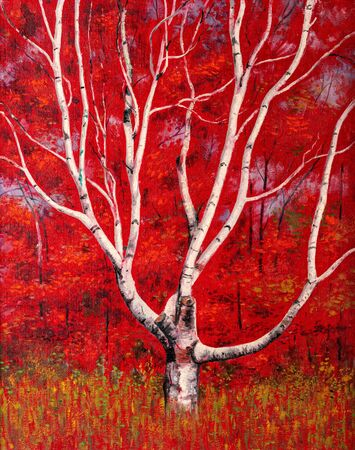 Painting of a white birch tree against a bright red autumn foliage background. 写真素材
