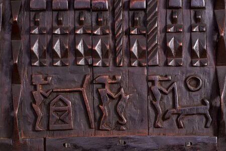 Detail of traditional Dogon Granary window hand carved  from Mali, Africa.