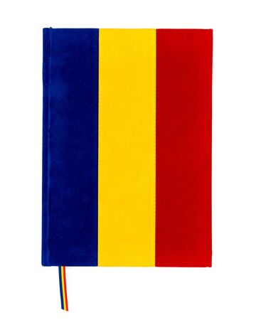 Blue, yellow, and red tricolor notebook representing Romanian flag isolated on white.
