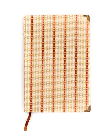 Vintage closed notebook mockup isolated on white.