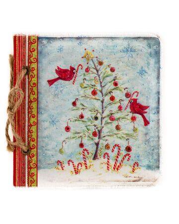 Vintage drawing book with Christmas tree design isolated on white. 写真素材