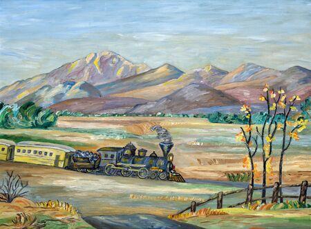 Naive painting of an old western steam train travelling though a mountainous and arid landscape. 写真素材