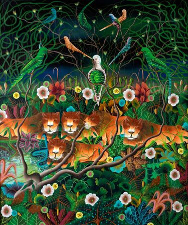 Naive jungle scene composition of lionesses, birds, tropical plants and flowers painted in the style of Haitian art. 写真素材