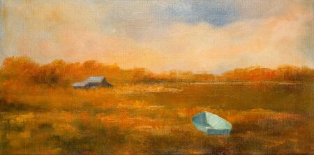 Impressionist style painting of a fisherman boat in a swamp and a shack in the distance. Stok Fotoğraf