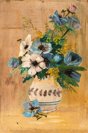 Vintage oil painting of flowers in a white vase with cracked paint in several areas. Art restoration concept. 写真素材
