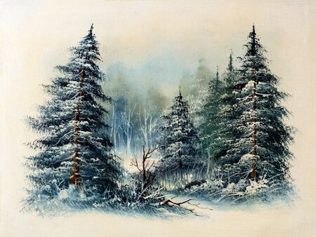 Evergreen pine trees snow covered in forest, winter scene oil painting. Christmas concept. 写真素材