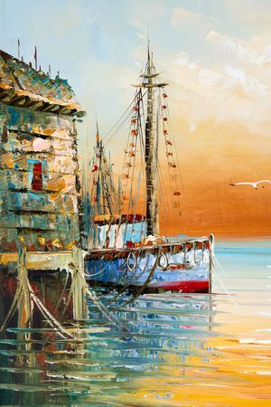 Fragment of painting with thick paint brushwork and palette knife details depicting fisherman boats and shacks in a harbor Zdjęcie Seryjne