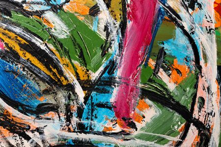 An abstract fragment of painting showing vibrant colors, brushstroke texture, and line flows.