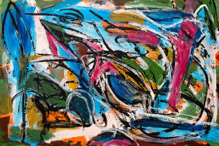 Abstract painting with vibrant colors, strong shapes and brushstrokes textures.