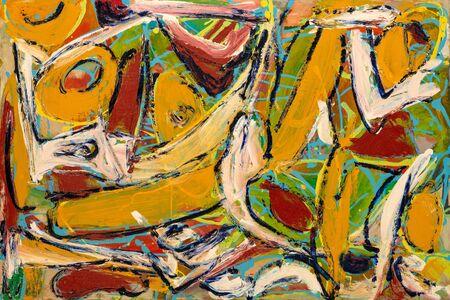Malarstwo abstrakcyjne o żywych kolorach, mocnych kształtach i teksturach pociągnięć pędzla.