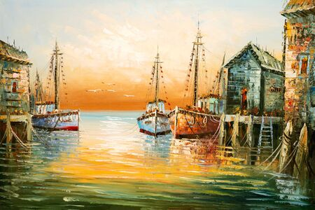 Image of painting with thick paint brushwork and palette knife details depicting fisherman boats and shacks in a harbor.