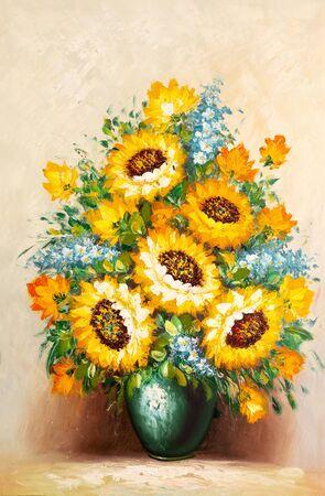 Imagen de pintura con pinceladas gruesas y detalles de espátula que representan girasoles en un jarrón.