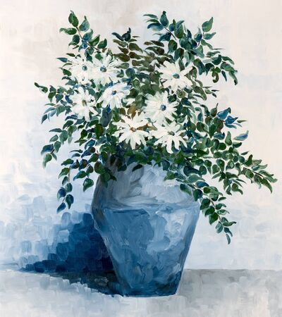 Image of painting with thick brushwork depicting white petal flowers in a vase.